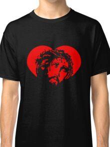 herz design cool heart love liebe gestorben sünden jesus king of kings spruch text logo könig der könige heilig christus  Classic T-Shirt