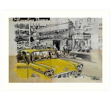 big yellow cab Art Print