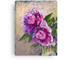 Two pink peonies in a vase Canvas Print