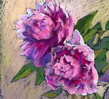 Two pink peonies in a vase by kira-culufin