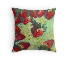 Strawberries on a table Throw Pillow