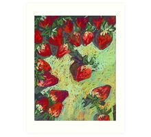 Strawberries on a table Art Print
