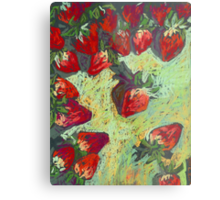 Strawberries on a table Metal Print