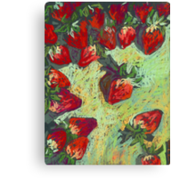 Strawberries on a table Canvas Print