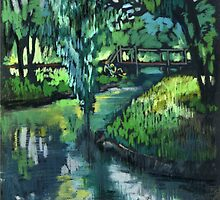 Late spring landscape with river Likhoborka and a willow tree by kira-culufin
