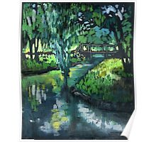 Late spring landscape with river Likhoborka and a willow tree Poster