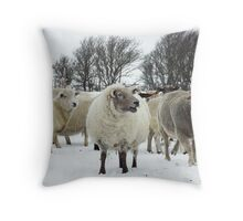 Flock of sheep in the snow Throw Pillow