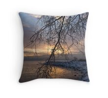 A Curtain of Frozen Branches - Ice Storm Sunrise Throw Pillow