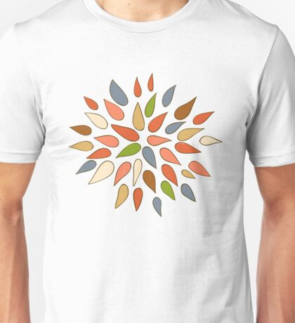 Abstract colorful flowers on brown background. Unisex T-Shirt