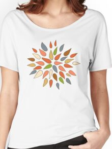 Abstract colorful flowers on white background. Women's Relaxed Fit T-Shirt
