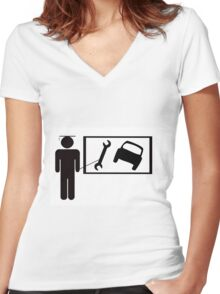 Vocational training - car maintainence Women's Fitted V-Neck T-Shirt
