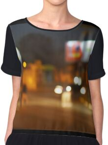 Abstract urban night scene with blurred headlights on the road Chiffon Top