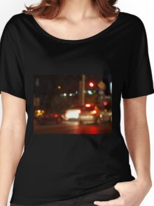 Blur and defocused lights on the stream of cars Women's Relaxed Fit T-Shirt