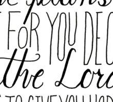 Hand Written Typography of Jeremiah 29:11 Sticker