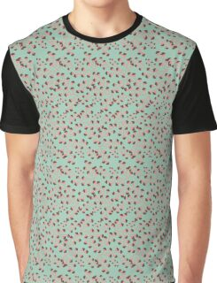 Dainty Flower Print in Mint, Orange, and Brown Graphic T-Shirt