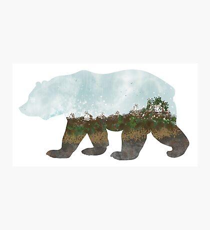 Landscape Bear with Mountains Photographic Print