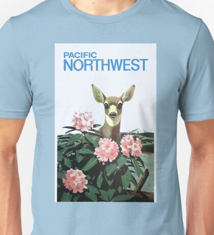 Vintage Pacific Northwest Deer and Flowers Unisex T-Shirt
