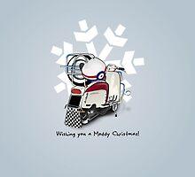 Mod Lambretta Scooter Snow Flake Christmas Card by collibosher