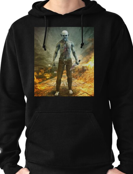 Crazy Scary Monster Apocalyptic Scene Pullover Hoodie
