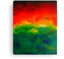 Rising red and green watercolour abstract Sunrise Landscape painting Canvas Print