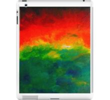 Rising red and green watercolour abstract Sunrise Landscape painting iPad Case/Skin