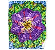 Floral Puzzle Mandala Poster
