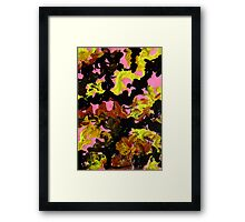 Hectic modern abstract painting Brown Black Pink Yellow Framed Print