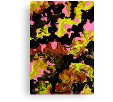 Hectic modern abstract painting Brown Black Pink Yellow Canvas Print