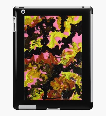 Hectic modern abstract painting Brown Black Pink Yellow iPad Case/Skin
