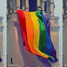 Love Wins LGBTQ Gay Pride Rainbow Flag by RD Riccoboni by RDRiccoboni