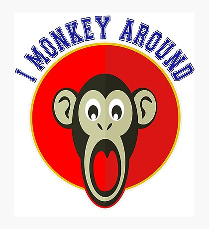 Cute Funny Brown Monkey Around Meme t-Shirts Photographic Print