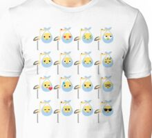 Stork with Baby Emoticon Emoji Different Face Expression Unisex T-Shirt