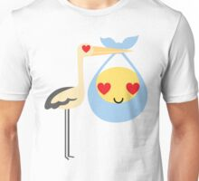 Stork with Baby Emoticon Emoji Heart and Love Eye Unisex T-Shirt