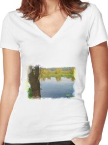 Autumn River Women's Fitted V-Neck T-Shirt