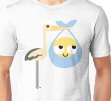 Stork with Baby Emoticon Emoji Think Hard and Hmm Unisex T-Shirt