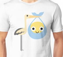 Stork with Baby Emoticon Emoji Happy and Eager Look Unisex T-Shirt