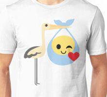 Stork with Baby Emoticon Emoji Flirt and Blow Kiss Unisex T-Shirt
