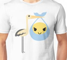 Stork with Baby Emoticon Emoji Naughty and Cheeky Look Unisex T-Shirt