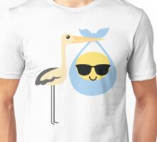 Stork with Baby Emoticon Emoji Cool Sunglasses Unisex T-Shirt