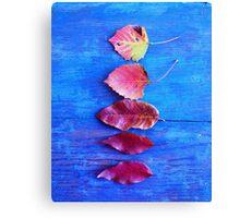 Autumn Leaves on Blue Vintage Table Canvas Print