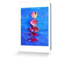 Autumn Leaves on Blue Vintage Table Greeting Card
