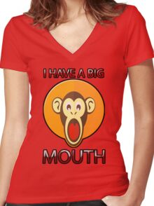 Cute Funny Brown Monkey With Big Open Mouth Meme T-Shirt Women's Fitted V-Neck T-Shirt