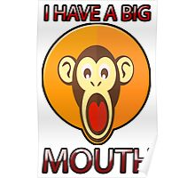 Cute Funny Brown Monkey With Big Open Mouth Meme T-Shirt Poster