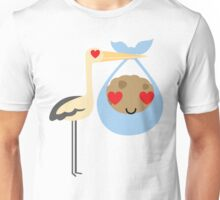 Stork with Baby Cookie Emoji Heart and Love Eyes Unisex T-Shirt