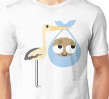 Stork with Baby Cookie Emoji Think Hard and Hmm Unisex T-Shirt