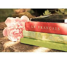 Black Green Red Vintage French Books and Pink Flower Photographic Print