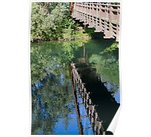 wooden bridge on the lake Poster