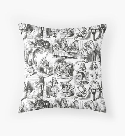 Alice in Wonderland | Toile de Jouy | Black and White Throw Pillow