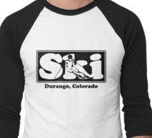 Durango, Colorado SKI Graphic for Skiing your favorite mountain, city or resort town Men's Baseball ¾ T-Shirt