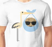 Stork with Baby Cookie Emoji Cool Sunglasses Unisex T-Shirt